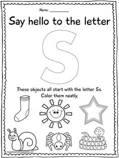 Alphabet activities for the letter S- perfect for preschool, transitional kindergarten, kindergarten, & R Letter S Worksheets, Letter S Activities, Jolly Phonics Activities, Preschool Literacy, Preschool Letters, Learning Letters, Preschool Lessons, Kindergarten Worksheets, Preschool Printables