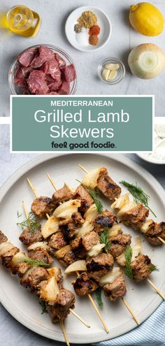 These Grilled Lamb Kabobs are a must for summer grilling. Lamb chunks are tossed in a Mediterranean marinade so they're tasty, tender & juicy! Lamb Kabobs Recipe, Lamb Skewers, Shish Kabobs, Lamb Cuts, Healthy Meals, Healthy Recipes, Grilled Lamb, Chicken Kabobs, Mediterranean Recipes