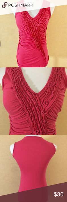 V-neck, sleeve-less, pink small stretchy t-shirt V-neck, sleeve-less, pink small stretchy t-shirt. Cotton and super soft Anthropologie Tops