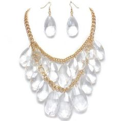 Fancy Chunky Gold Tone Multi Layered Clear Ice Lucite Faceted Teardrop Bead Cascade Statement Bib Necklace and Earrings Set Elegant Trendy Beaded Fashion Jewelry by Enchanting Jewels Necklace, http://www.amazon.com/dp/B007JYMZLC/ref=cm_sw_r_pi_dp_CshKpb1PM2K7Y
