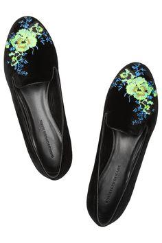 Christopher Kane|Embroidered velvet slippers|NET-A-PORTER.COM