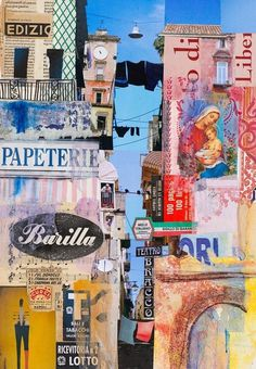 Stampato in Itaia paper collage 46 x 32 cm I joined Urban Sketchers in Napoli for four intense days of sketching. Of course along the way I photographed and collected tickets, bits from billboards, packaging and stamps. City Collage, Paper Collage Art, Paper Art, Gcse Art Sketchbook, Art Courses, A Level Art, Urban Sketching, Mixed Media Collage, Mixed Media Artwork
