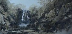 Oil of a wooded landscape with waterfall by Pamela Derry signed sold