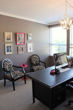D's classy office reno! Grey & Pink with Zebra chairs
