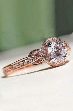 Cool 45 Vintage And Luxury Rose Gold Engagement Rings Ideas. More at https://wear4trend.com/2018/02/24/45-vintage-luxury-rose-gold-engagement-rings-ideas/