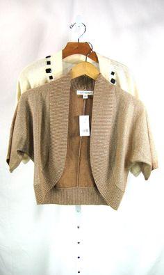 BANANA REPUBLIC Lot of 2 Open Front Cardigan Sweaters Gold & Beaded Ivory M #BananaRepublic #Cardigan