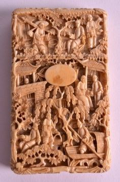 A Mid 19th Century Chinese Carved Canton Ivory Card
