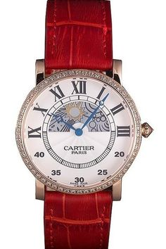 Mens Replica Cartier Moonphase White Dial Diamond Encrusted Bezel Watch with Rose Gold Case and Red Leather Strap