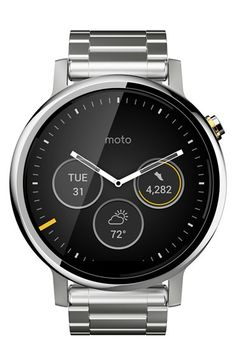 Free shipping and returns on Motorola 'Moto 360 2nd Gen' Bracelet SmartWatch, 46mm at Nordstrom.com. A rugged,Android-compatible smart watch encased in shatter-resistant Gorilla Glass® allows you to access Google Play, track your dailystepsand monitor your heart rate. The luminous analogdial with digitalsub-eyes lends a sporty look with modern functionality.