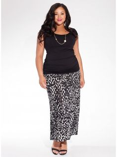 Delray Maxi Plus Size Skirt in Abtruse Dot