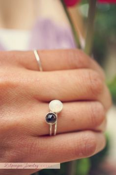 w i s h - faceted rainbow moonstone ring. sterling silver stacking ring