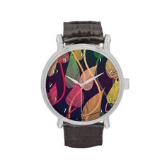 Colorful Autumn Leaves Pattern Wrist Watch