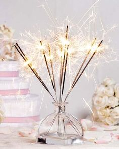 51 Easy And Simple DIY New Years Eve Home Decoration Ideas - Planning any successful party requires that thought be given to the location, decorations, guest list, food and beverages, and entertainment. New Year. Cake Sparklers, Sparkler Candles, Wedding Sparklers, Wedding Reception, Birthday Sparklers, Birthday Candles, Diy New Years Eve Decorations, Sparkle Decorations, Xmas