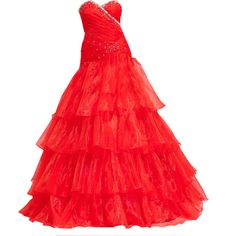 Editado por dehti ❤ liked on Polyvore featuring dresses, gowns, vestidos, red dress, red gown, red evening gowns, red evening dresses and red ball gown