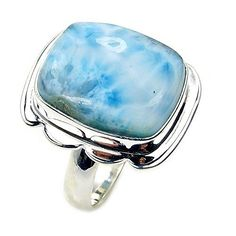 'Caribbean Beauty' Sterling Silver Natural Dominican Larimar Ring, Size 8.75  Price : $53.95 http://www.silverplazajewelry.com/Caribbean-Sterling-Silver-Natural-Dominican/dp/B00OTPXW5W