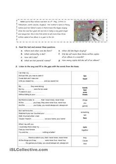 A song performed by Adele to practise the Simple past tense - ESL worksheets