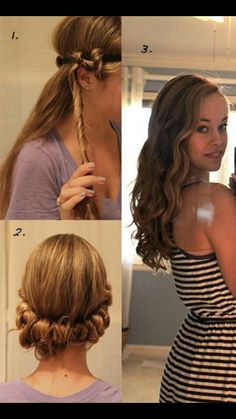 ~Ways Not To Burn Your Hair~  Natural braid sleep with it over night and you'll have your hair ready to go in the morning!