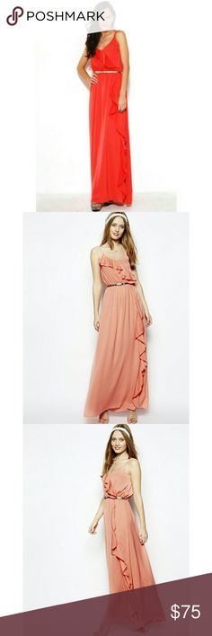 Jarlo London Renee Ruffle Maxi Dress Absolutely stunning, this maxi is both comfortable and elegant. Elastisized waist. New with tags. Bright coral. 100% Poly (feels like silk).   * Does not come with belt. Pics soon! Jarlo Dresses Maxi