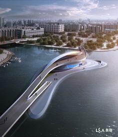 Wuxi Xidong Park Bridge (1)--http://www.archdaily.com/189896/wuxi-xidong-park-bridge-la-design-group/
