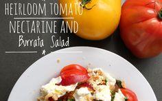 Heirloom Tomato, Nectarine and Burrata Salad - from Lunchblocks Burrata Mozzarella, Burrata Salad, Heirloom Tomatoes, Menu, Vegetarian, Stuffed Peppers, Fresh, Breakfast, Recipes
