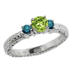 0.84 Ct Round Green Peridot Blue Diamond 14K White Gold 3-Stone Ring