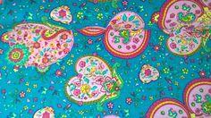 Jersey Stoff Fabrics Herzen petrolblau rosa pink von Meterware Stoffe günstig kaufen auf DaWanda.com