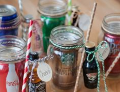 You'll love to make these Mason Jar Mug Cocktail Gifts for your family and friends! They're easy and inexpensive and you can personalise with everyone's favourite miniature and mixer, whether it's Baileys, Kahlua, Vodka or Jack Daniels.