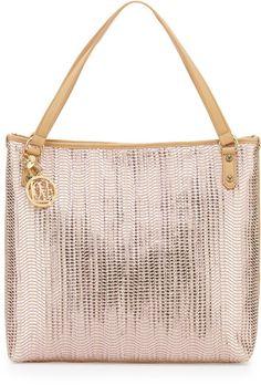 Love Moschino Borsa Metallic Woven Pvc Tote Bag in Beige (PINK/BEIG) - Lyst