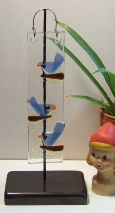 Blue Bird of Happiness Fused Glass