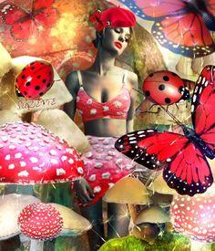 Mushroom Mischief  #collage #digital #model #verity hensey #mushrooms #ladybugs #butterflies - Suzette ✨ @Bazaart