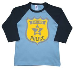 Police Birthday Shirt, boys birthday shirt, police badge 1st 2nd 3rd 4th 5th, personalized! on Etsy, $19.95