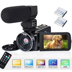 Video Camera Camcorder Vlogging Camera Recorder with Microphone 2.7K 20FPS 30MP 3 LCD 270 Degrees Rotatable Touch Screen 18X Digital Zoom YouTube Vlog Camera with Remote Control
