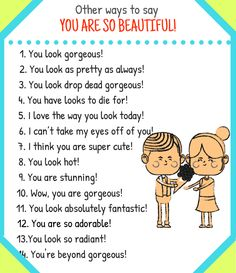 """Learn English 598908450429276134 - Different Ways to Say """"You Are Beautiful!"""" – ESL Buzz Source by blondelketa English Learning Spoken, Teaching English Grammar, English Writing Skills, English Language Learning, English Lessons, French Lessons, German Language, Spanish Lessons, Japanese Language"""