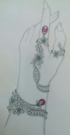 hathphool. Hand Designs, Designs To Draw, Necklace Drawing, Jewelry Design Drawing, Jewelry Illustration, Fashion Jewellery Online, Jewellery Sketches, Pink Bling, Fashion Design Sketches
