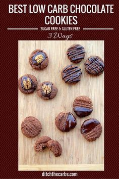 Low Carb Chocolate Cookies Try these today. The easiest recipe for Best Low Carb Chocolate Cookies with only net carbs. They are gluten free, grain free, low carb and no added sugar. Sugar Free Recipes, Low Carb Recipes, Real Food Recipes, Cookie Recipes, Healthy Recipes, Simple Recipes, Cookie Ideas, Amazing Recipes, Diabetic Recipes