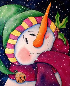 ORIGINAL Watercolor Painting Snowman Winter Christmas Jingle Bell 8x10""