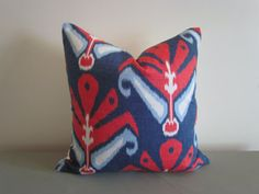 Designer Throw Pillow Cover Sulu Red and Blue by oliveandgarland