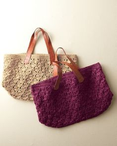 Mar Y Sol Valencia Crocheted Tote. Open-weave with a subtle palm-tree pattern made of raffia fibers.
