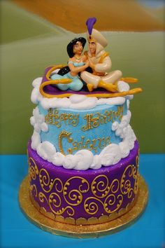 Princess Jasmine and Aladdin Cake! Jasmine Birthday Cake, Aladdin Birthday Party, Aladdin Party, Cool Birthday Cakes, Birthday Drinks, Princess Birthday, Princess Wedding, Birthday Ideas, Dessert Party
