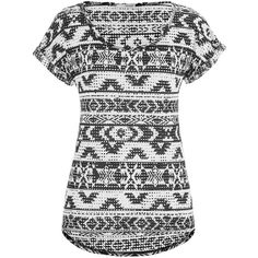 maurices Openwork Tee In Ethnic Print ($9.99) ❤ liked on Polyvore featuring tops, t-shirts, shirts, black, scoop neck t shirt, mesh t shirt, print t shirts, print tees and roll top