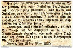 Original-Werbung/ Anzeige 1829 - EIN HONETTES MÄDCHEN... / STELLENGESUCH IN ALTONA - ca. 65 x 40 mm