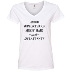 Proud Supporter of Messy Hair & Sweatpants v-Neck T-Shirt Soft and... ($18) ❤ liked on Polyvore featuring tops, t-shirts, shirts, black, women's clothing, ribbed t shirt, v-neck shirts, rib tee, vneck t shirts and v neck tops