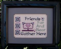 """Turquoise Graphics & Designs """"Friends Far And Near"""" Counted Cross Stitch Design #cross-stitch #Friendship #Technology  #Inspirational #Pattern #Chart"""