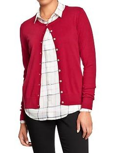 Womens Crew-Neck Cardigans in red, pink, purple.. so many options