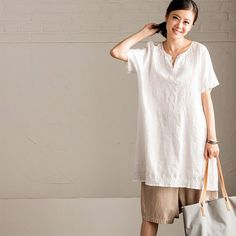White Art Loose Embroidery Long T-Shirt Women's Tops C7051A