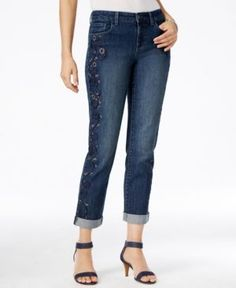 Style & Co Embroidered Boyfriend Jeans, Only at Macy's - Blue 14