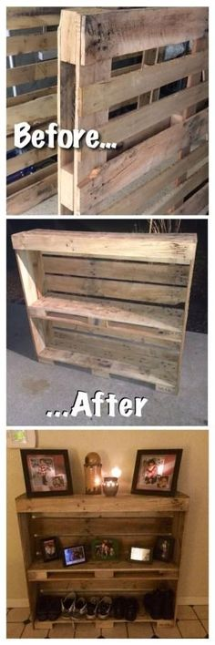 Pallet entry table. Reclaimed and up cycled! Pallet project, pallet wood, rustic shoe rack. by Big Sunshine by Cindy Jensen