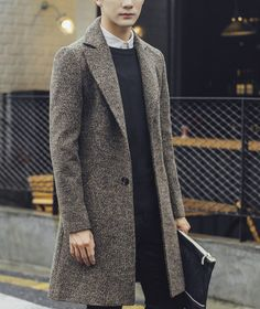 Coolred-Men Thickening Open Front Wool Blended Windproof Overcoat