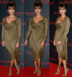 Halle Berry Suffers Unsightly Wardrobe Mishap in Donna Karan Dress and Christian Louboutin Pumps