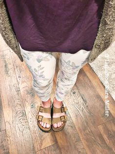 LuLaRoe pastel leggings with perfect tee, Cardigan and Birkenstocks for spring and summer fashion trends and style inspiration.  Shop here: https://www.facebook.com/groups/LularoeKaraMiller/